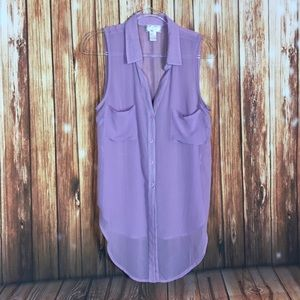 ⚡️Band Of Gypsies Lavender Sheer PopOver Top